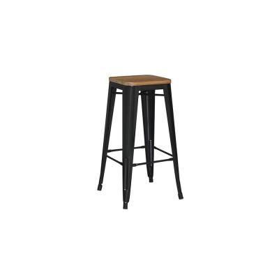 Stylewell Finwick Black Metal Backless Bar Stool With Wood Seat