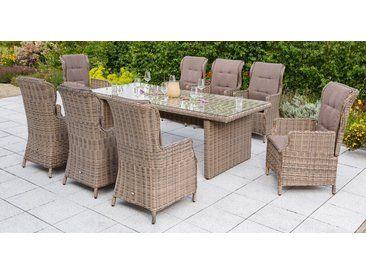 Merxx Gartenmobelset Riviera 17 Tlg 8 Hochlehner Auflagen Tisch 230x100 Cm Akazie Natur Natur Beige Gartenmobel Gartenmobel Sets Mobel