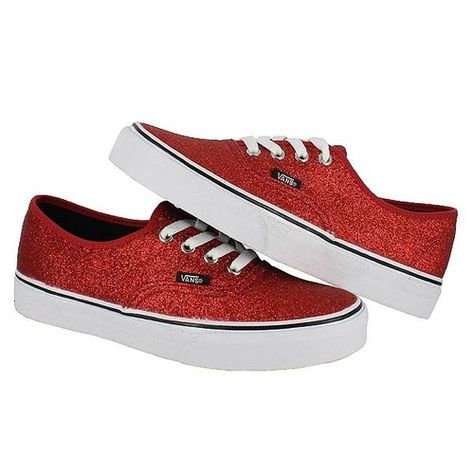 5086938ec464 Vans Womens Authentic Shiny Glitter Red Trainers Classic Womens Shoe All  Sizes | eBay