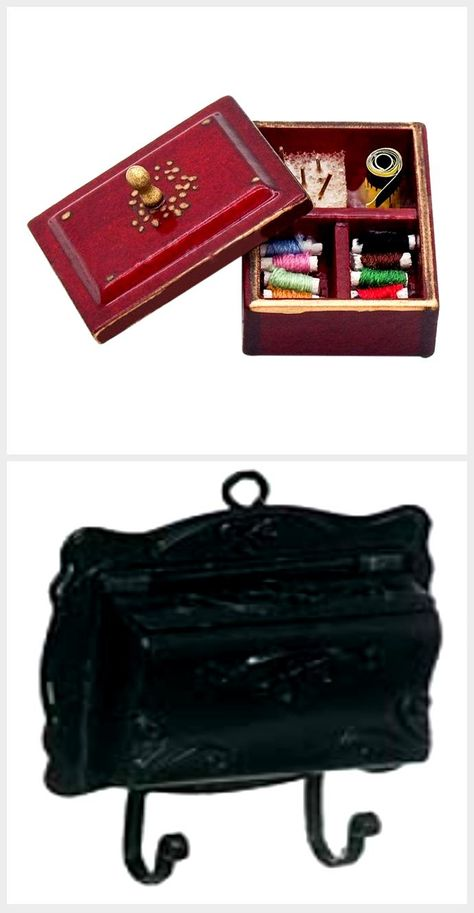 Dollhouse Miniature 1:12 Toy Metal Antique Sewing Box With Accessories Deco