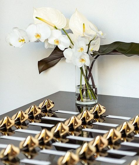 A fun Guest Favor - Golden Fortune Cookies with individual sayings...  #guestgifts #guestfavors #favorboxes #fortunecookies #flowers #weddingflowers  #weddingdesign #eventstyling #wedding #weddingideas #entertaining #perfectaffair #entertainment #partyideas #eventdecor #partydecor #weddingdecor