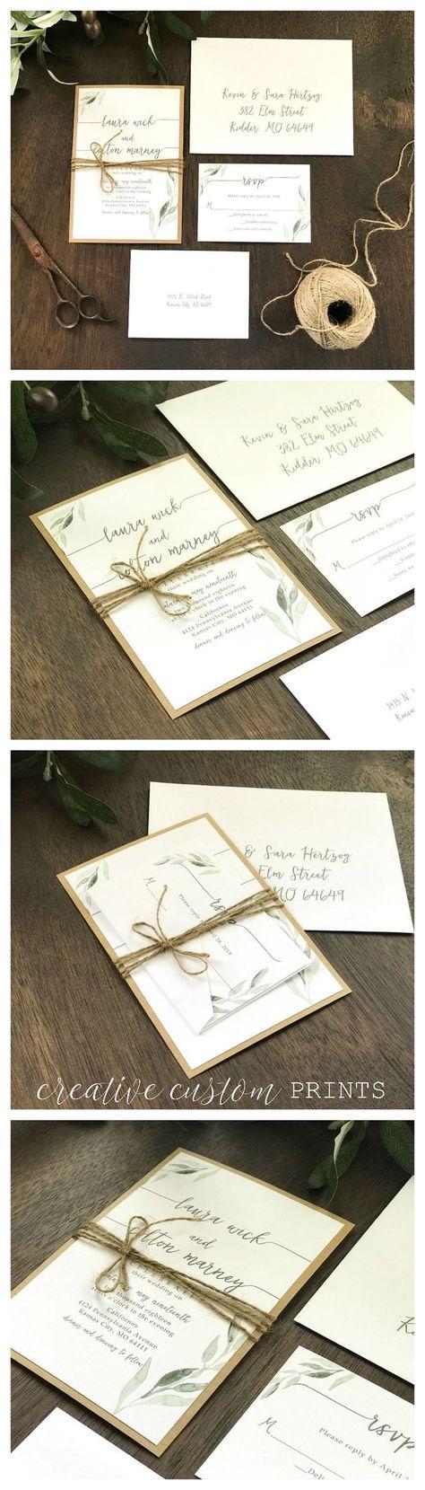 Greenery Wedding Invitation Set, Eucalyptus Wedding Invitation, Rustic Wedding Invitation, Boho Wedding Invitation, Garden Wedding