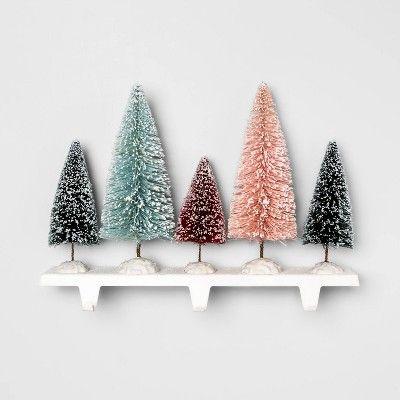 14 7 X 11 2 Bottle Brush Christmas Tree Stocking Holder Opalhouse Target Bottle Brush Christmas Trees Stocking Holders Stocking Tree