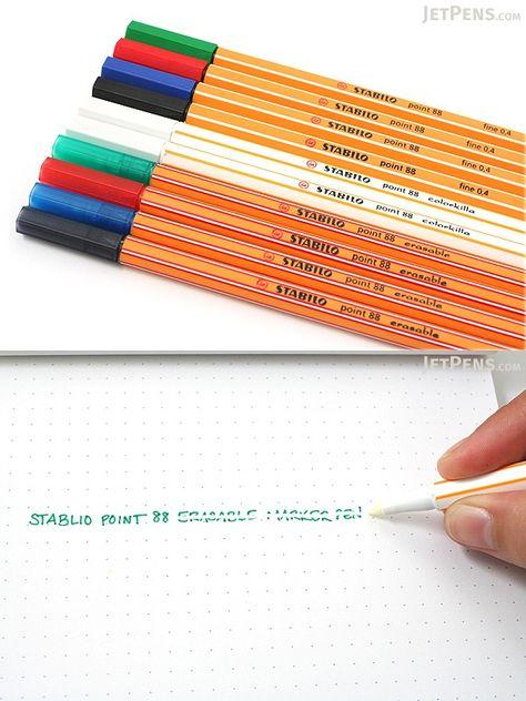 Wallet of 4 colours plus COLORKILLA eraser STABILO POINT 88 ERASABLE FINELINER