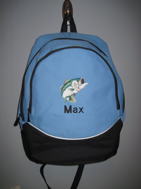 Large Mouth Bass Fish Fishing Blue Backpack school bag PERSONALIZED NEW