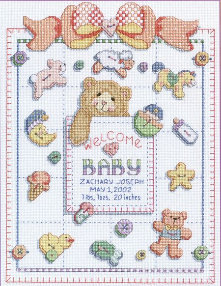 Kooler Design Studio Buttons And Bows Birth Record Cross Stitch Pattern Cross Stitch Cross Stitch Patterns Stitch Patterns