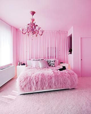 Beautiful Pink Room I M In Love With The Furry Bed Spread Home