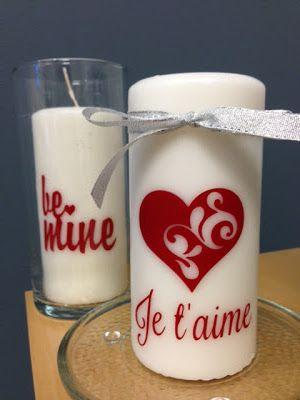 Valentine's candles with vinyl