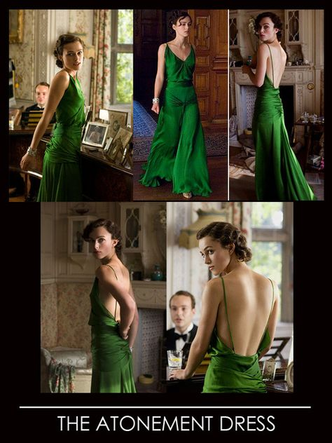 "Keira Knigthley's emerald green dress, or more famously called ""The Atonement Dress"". The figure-hugging 1930's dress in the movie was designed by the film's costume designer, Jacqueline Durran,"