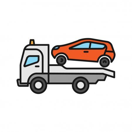 Tow Truck Color Icon Evacuator Car Wrecker Isolated Vector Illustration Affiliate Icon Evacuator Color Tow A Tow Truck Towing Vector Illustration