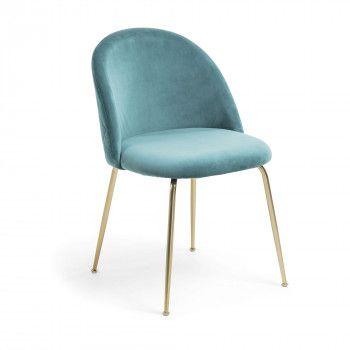 Chair Upholstered In Velvet Fabric Gold Metal Legs Dining