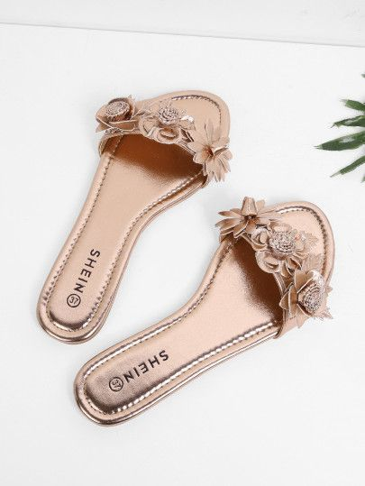 Flower Decorated Pu Flat Sandals Shein Sheinside Womens Sandals Flat Shoes Women Women Shoes