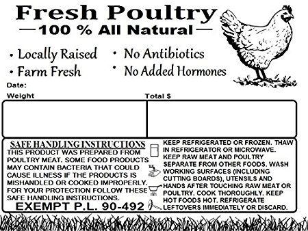 P.L Poultry Freezer Labels 4 x 3 with Safe Handling Instructions and Exemption 500 90-492