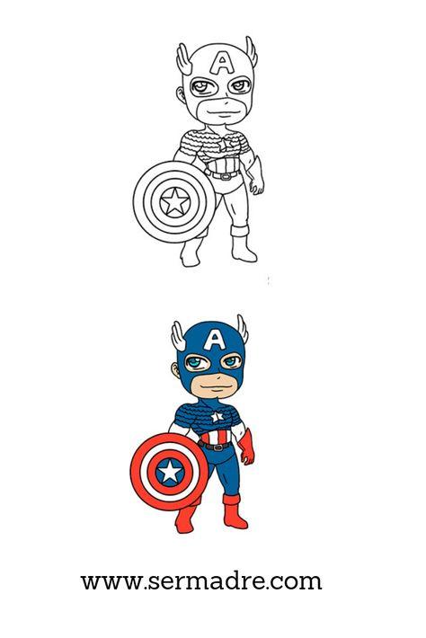 Dibujos Para Colorear Del Capitan America Para Niños Estos