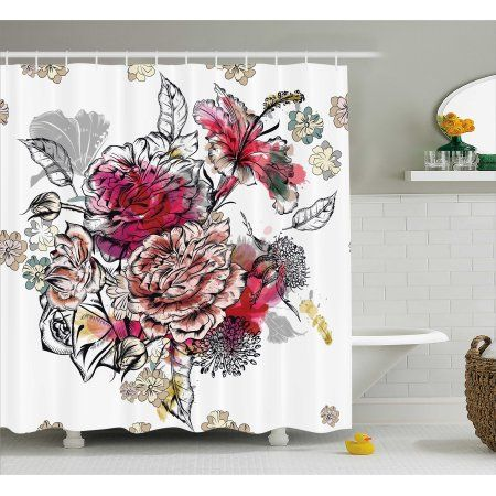 Floral Shower Curtain Romantic Rose Petals Bouquet Bridal Wedding