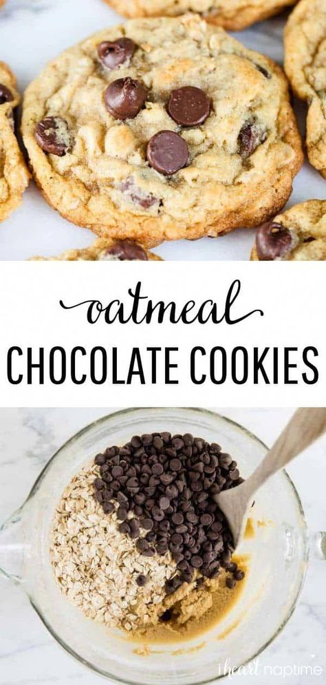 Oatmeal Chocolate Chip Cookies - Soft and chewy on the inside, with perfectly crispy edges. Made in one bowl in less than 30 minutes! #cookies #cookiedough #cookierecipes #oatmeal #oatmealrecipes #oatmealcookies #chocolate #chocolatechip #chocolatechipcookies #desserts #dessertrecipes #baking #recipes #iheartnaptime
