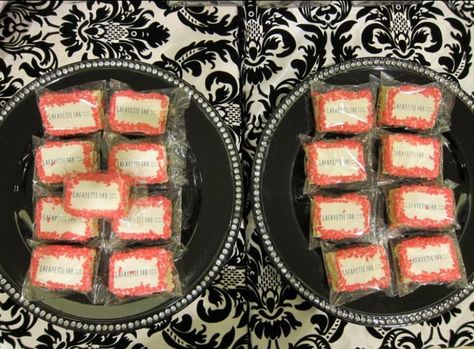The black bling plates are from Michael's and I find a hundred uses for them. Candy was from Candy Warehouse. Cupcakes and custom rice krispy treats are from a local Long Island bakery called My Cookie Jar.