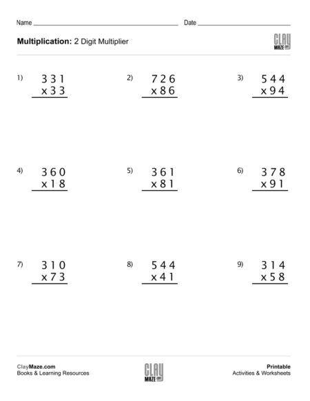 Multiplication Practice Worksheet Multiplication Worksheets Multiplication Double Digit Multiplication
