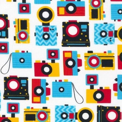 Camera's by Ann Kelle for Robert Kaufman Retro Style in Bright 1 Yard Cut