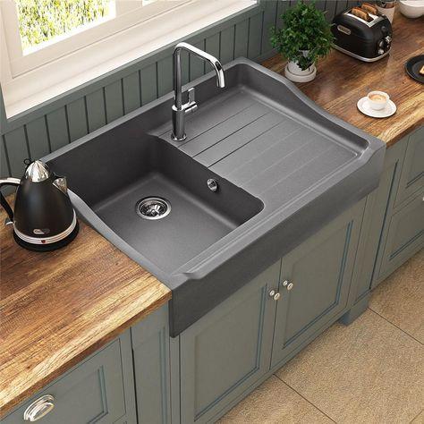 Évier à poser céramique blanc GABIN 1 bac 1 égouttoir Deb - fixer plan de travail cuisine
