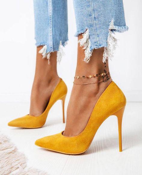Gold Suede Slip On Stiletto Pumps