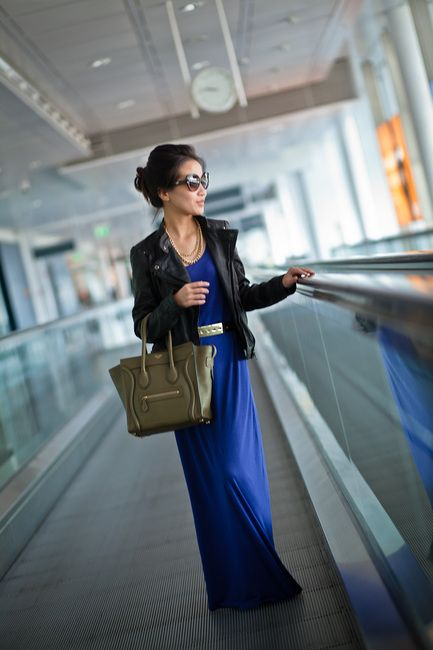 Chic and comfy, and perfect for long haul travel. Cotton maxi-dress, flats and a cool jacket.