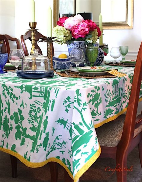How To Make A Toile Tablecloth Using Stencils Diy Decorating Ideas