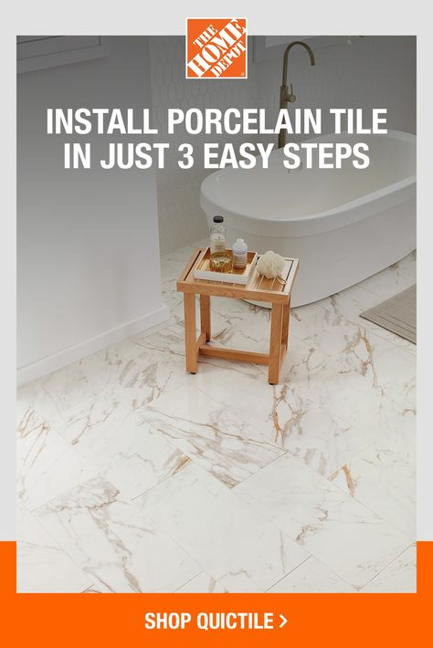 QuicTile's floating floor system is a new, innovative way to update your floors without the hassle. Installation is quick, simple and more affordable than traditional flooring. No mortar is needed, and you can install over your existing floors. Click to shop real porcelain QuicTile at The Home Depot today.
