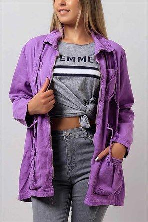 Cep Detay Mor Bayan Kot Ceket Modeli 8929b Kot Ceket Tulumlar Giyim