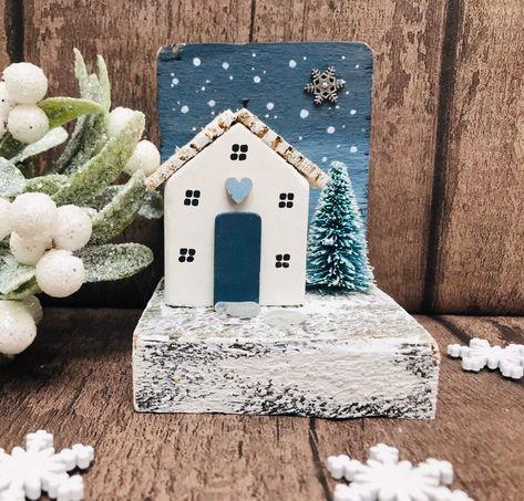 Winter Cottage • Winter Decor • Driftwood Home Art • Driftwood Ornament • Christmas Decor • Home Decor • The SeaSalt Shed #etsy #housewares #homedecor #white #christmas #blue #driftwood #christmascottage #driftwoodornament #scandinavian