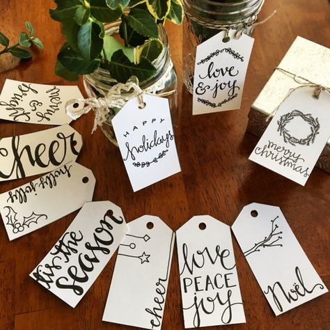 This christmas gift tag set of 10 different tags, has been hand drawn and scanned so you can have a high resolution jpg file to print as many
