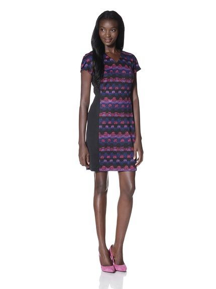 #Purple Gorgeous dress with a pair of pink shoes. Marc New York Women's Center Printed Ponte Dress at MYHABIT $79