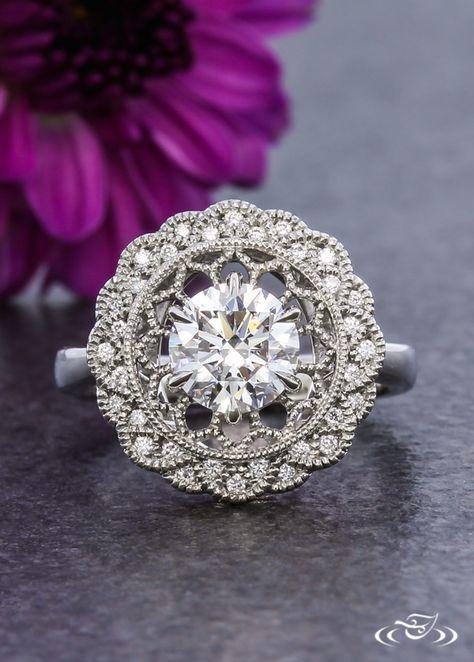 Diamond Scallop and Pierced Platinum Halo Ring, Green Lake Jewelry
