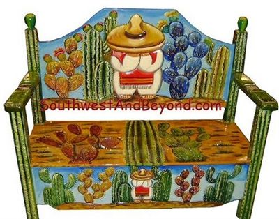 02 Bench Desert Scene 2 Person Hand Carved Painted 027
