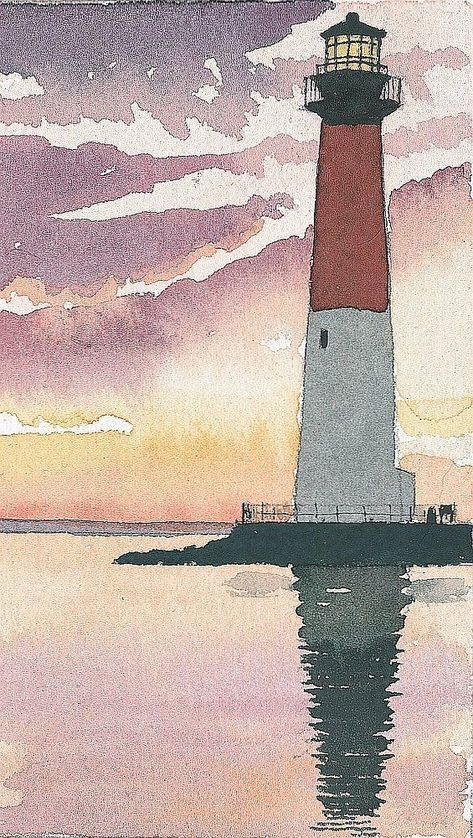 Barnegat Lighthouse NJ Purple gold sunset at Old Barney on Jersey Shore Matted art prints of or - Watercolor Trees, Watercolor Portraits, Watercolor Paintings, Simple Watercolor, Abstract Watercolor, Tattoo Watercolor, Watercolor Animals, Watercolor Background, Watercolor Artists