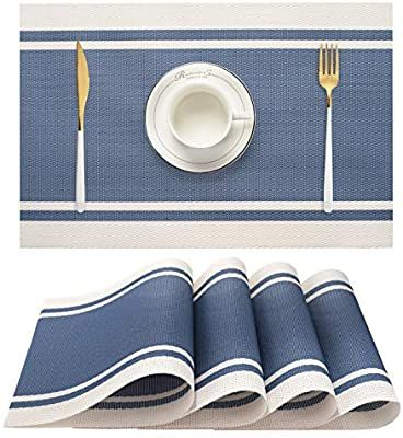 Amazon Com Ourshine Blue Placemats Set Of 4 For Dining Table Washable Woven Vinyl Placemat Non Slip Heat Resistant Kitc Blue Placemats Placemats Kitchen Table