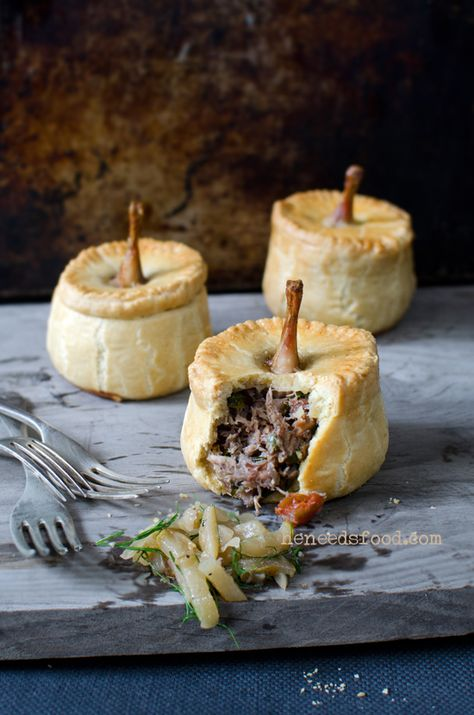 Braised quail + spatchcock pie with fennel, pear + thyme relish