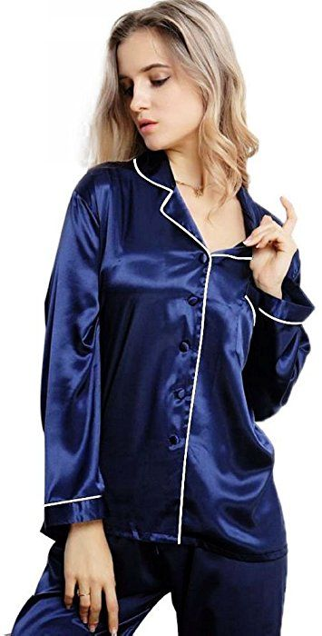 PLUS Size CHARMEUSE SATIN NIGHTSHIRT Long Sleeve Button Front POCKET Black RED