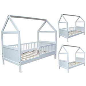 Vitalispa Kinderbett Hausbett Design 70x140cm Weiss Zaun Kinder Bett Holz Haus Schlafen Hausbett Spielbett Inkl Lattenrost Und Falls Toddler Bed Bed Home Decor