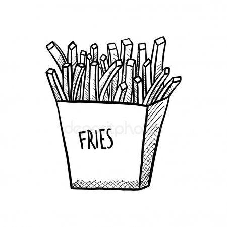 French Fries Drawn Illustration Black White Background Vector Eps Stock Affiliate Illustration Black And White Background French Fries White Background