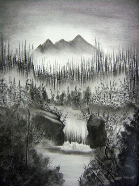 Charcoal Drawing Landscape Ad Barn Waterfall Drawing Landscape Drawings Mountain Drawing