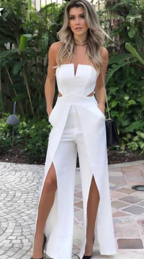 simple white long prom jumpsuits,sexy sweetheart summer outfits with high split,chic long prom dresses for teens #romprom #jumpsuits #promdresses