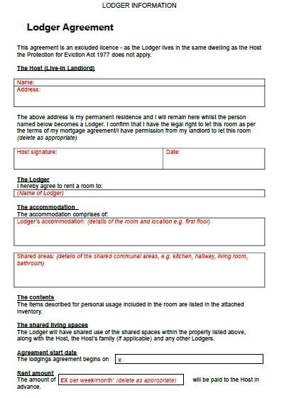 """""""free lodger agreement click here!"""" free contract templates. 17 Free Sample Lodger Agreement Templates Pdf Word Rental Agreement Templates Agreement Word Template"""