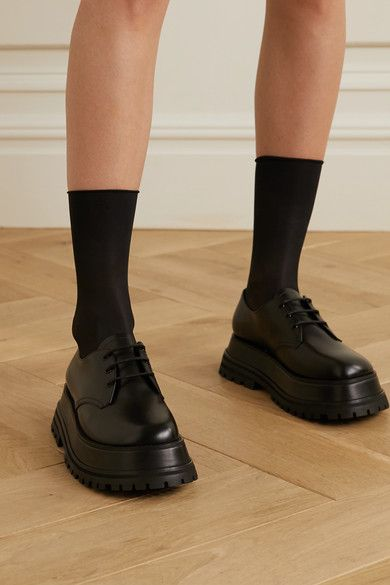 Platform sole measures approximately 2 inches Black leather (Calf) Lace-up front Made in Italy Pretty Shoes, Cute Shoes, Me Too Shoes, Burberry Dress, Burberry Shoes, Brogues, Loafers, Leather Boots, Black Leather