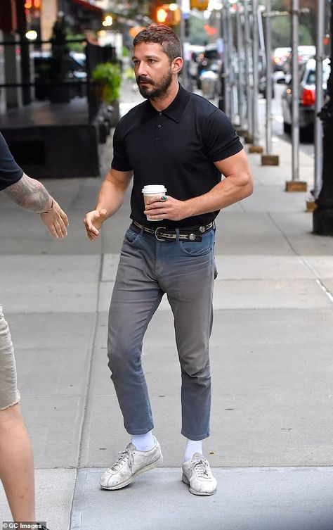 Shia LaBeouf is spotted with coffee in hand - Shia LaBeouf grabs a coffee before being interviewed with Dakota Johnson and Zack Gottsagen Shia Labeouf, Burberry Men, Gucci Men, Casual Outfits, Men Casual, Fashion Outfits, Fashion Styles, Casual Wear, Fashion Ideas