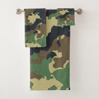Camo Bath Towel Set Custom, Camouflage Bathroom Sets