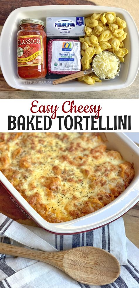Easy Cheesy Baked Tortellini (With Meat Sauce) - InstrupixYou can find Easy dinner recipes and more on our website.Easy Cheesy Baked Tortellini (With Meat Sauce) - Instrupix Tortellini Bake, Easy Tortellini Recipes, Ravioli Bake, Cheese Ravioli, Easy Pasta Bake, Tortellini Ideas, Spinach Ravioli, Pasta Cheese, Good Food