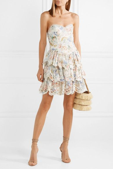 Bowie Ruffle strapless floral-print