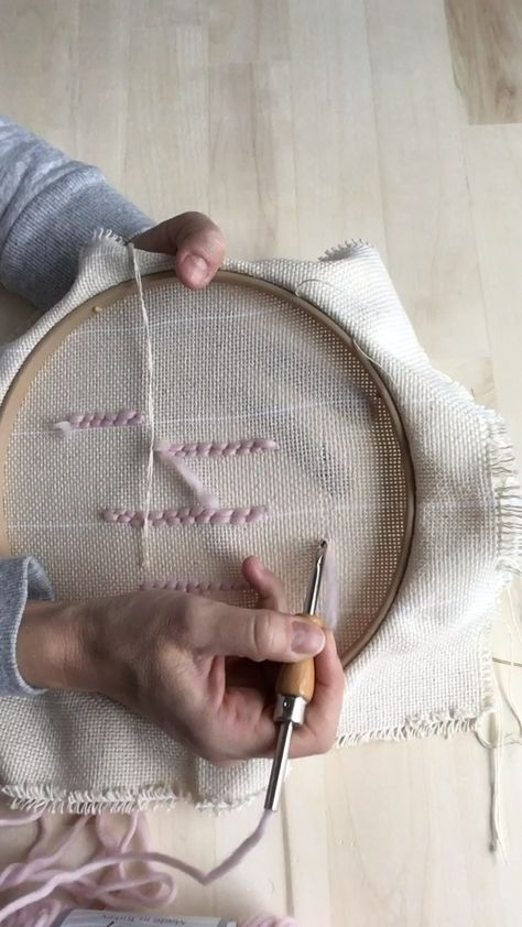 1. Graze the fabric with the tip of your needle as your work. 2. Make sure the handle touches the fabric each time. 3. Gaps in your loops is perfectly normal. If you have rows together, the loops will fill in. If your rows are wider apart, your loops can be closer together. Either way works.