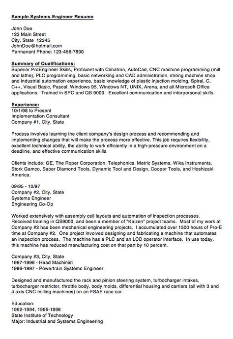 acquisition logistics engineer resume resume sample pinterest system engineer resume